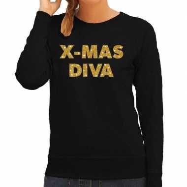 Kersttrui christmas diva gouden glitter letters zwart dames