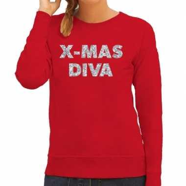 Kersttrui christmas diva zilveren glitter letters rood dames