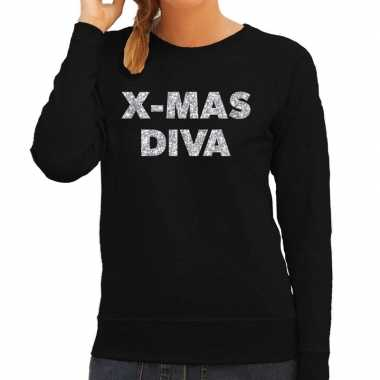 Kersttrui christmas diva zilveren glitter letters zwart dames