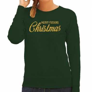 Kersttrui merry fucking christmas goud glitter groen dames