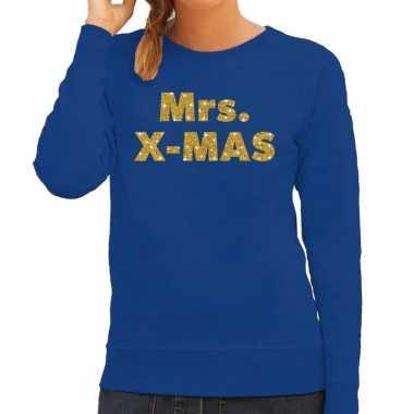 Kersttrui mrs. x-mas gouden glitter letters blauw dames