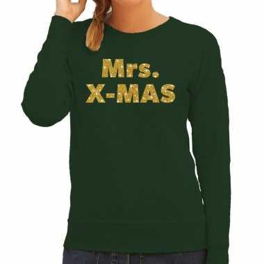 Kersttrui mrs. x-mas gouden glitter letters groen dames