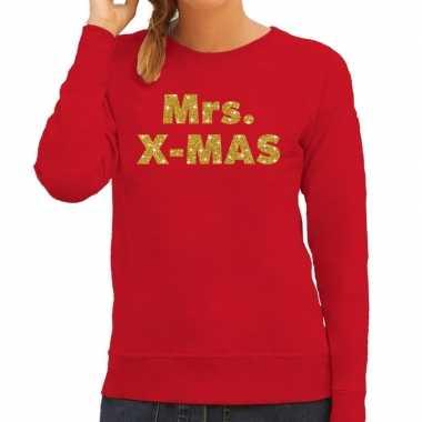 Kersttrui mrs. x-mas gouden glitter letters rood dames