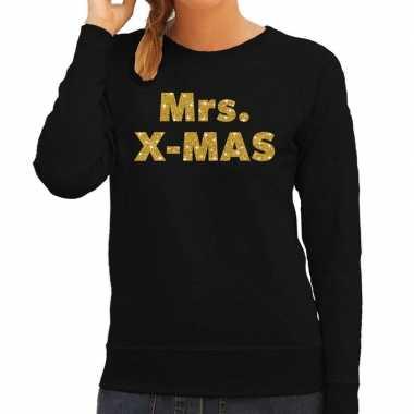 Kersttrui mrs. x-mas gouden glitter letters zwart dames