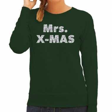 Kersttrui mrs. x-mas zilveren glitter letters groen dames