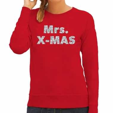 Kersttrui mrs. x-mas zilveren glitter letters rood dames