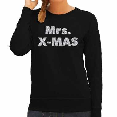 Kersttrui mrs. x-mas zilveren glitter letters zwart dames