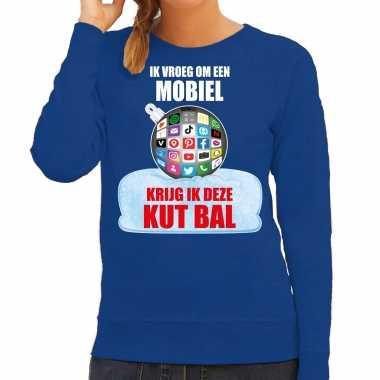 Kut kerstbal sweater / foute kersttrui ik vroeg om een mobiel krijg ik deze kut bal blauw voor dames