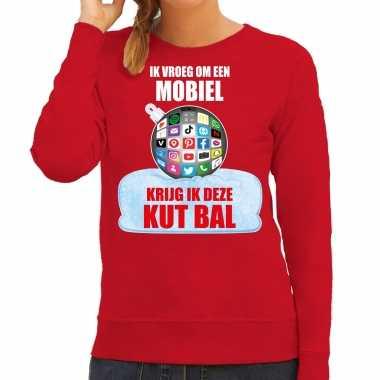 Kut kerstbal sweater / kersttrui outfit ik vroeg om een mobiel krijg ik deze kut bal rood voor dames