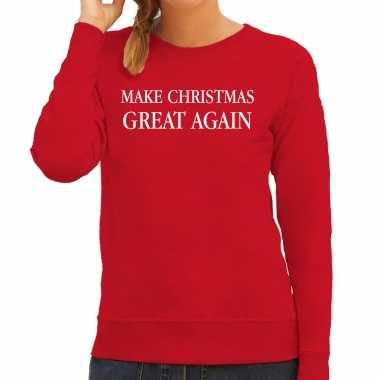 Make christmas great again foute kerst sweater / kersttrui rood voor dames