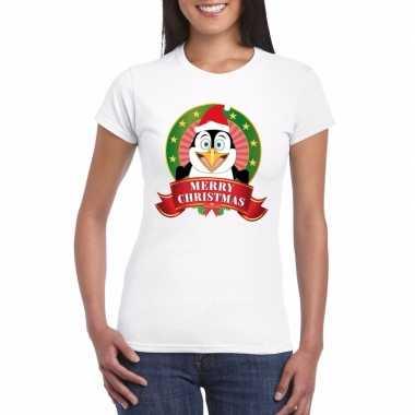 Pinguin kerst t-shirt wit merry christmas voor dames