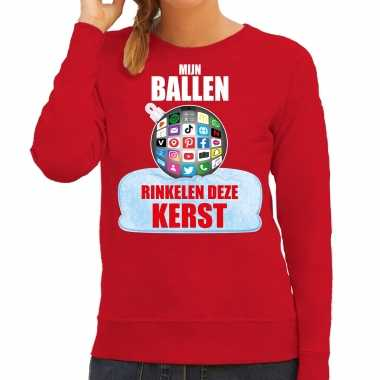 Rinkelende kerstbal sweater / foute kersttrui mijn ballen rinkelen deze kerst rood voor dames