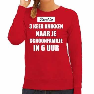 Rode foute kersttrui / sweater kerst is 3 keer knikken naar schoonfamilie outfit dames
