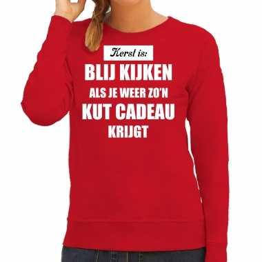 Rode foute kersttrui / sweater kerst is blij kijken / kut cadeau outfit dames