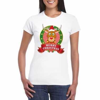 Rudolf kerst t-shirt wit merry christmas voor dames