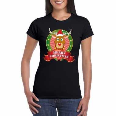 Rudolf kerst t-shirt zwart merry christmas voor dames