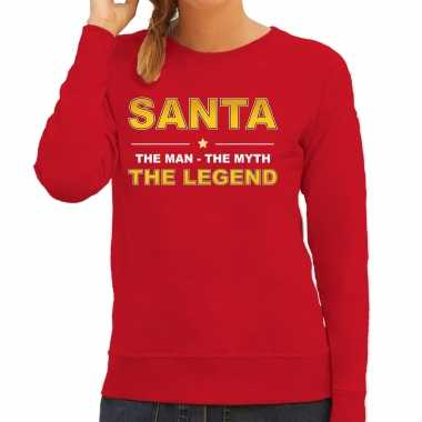 Santa kersttrui sweater / outfit / the man / the myth / the legend rood voor dames
