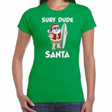 Surf dude santa fun kerstshirt / outfit groen voor dames