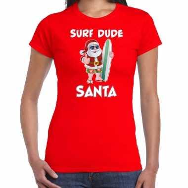 Surf dude santa fun kerstshirt / outfit rood voor dames