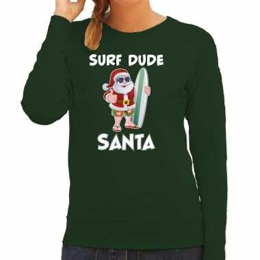 Surf dude santa fun kerstsweater / outfit groen voor dames