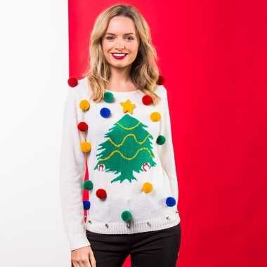 Witte kerst trui 3d kerstboom voor dames