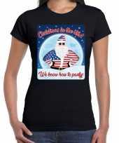 Fout amerika kerst shirt christmas in usa zwart voor dames