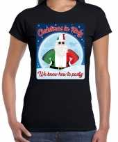 Fout italie kerst shirt christmas in italy zwart dames