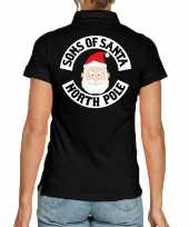 Fout kerst polo shirt sons of santa north polezwart voor dames