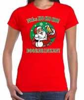 Fout kerst shirt bier drinkende santa rood voor dames