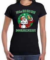 Fout kerst shirt bier drinkende santa zwart voor dames