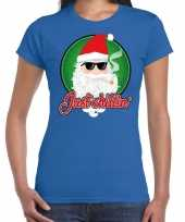 Fout kerst shirt just chillin stoere santa blauw voor dames