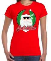 Fout kerst shirt just chillin stoere santa rood voor dames