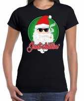 Fout kerst shirt just chillin stoere santa zwart voor dames