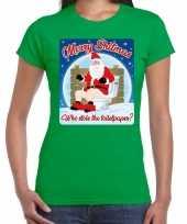 Fout kerst t shirt merry shitmas toiletpaper groen voor dames