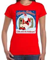 Fout kerst t shirt merry shitmas toiletpaper rood voor dames