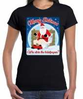 Fout kerst t shirt merry shitmas toiletpaper zwart voor dames