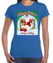 Fout kerst t shirt merry shitmas turkey blauw voor dames