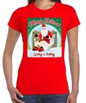 Fout kerst t shirt merry shitmas turkey rood voor dames