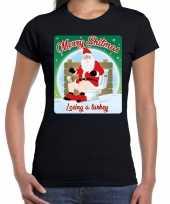 Fout kerst t shirt merry shitmas turkey zwart voor dames