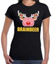 Foute kerst t shirt braindeer zwart voor dames