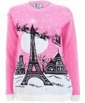 Roze kersttrui paris voor dames